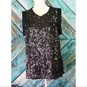 NEW 3.1 Philip Lim Black Sequined Silk Blouse
